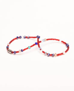 red beads multi color anklet