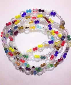 silver beads multi color crystals waist beads