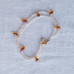clear beads cgold crystals anklet