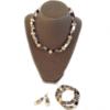 khaki crystals necklace set