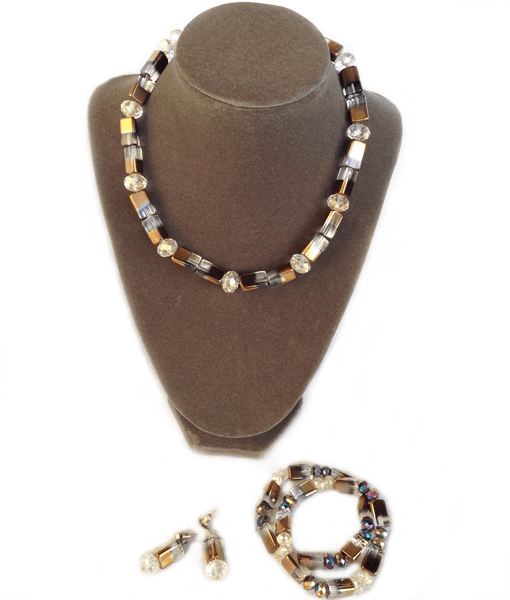 khaki crystals necklace set