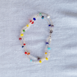 multi color crystals anklet