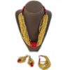 oheema red crystals necklace set