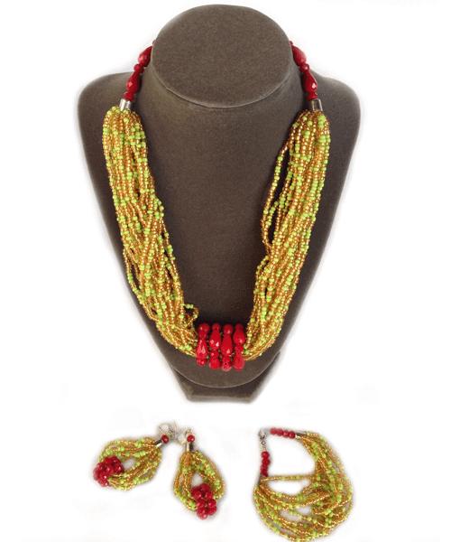 oheema red crystals necklace set