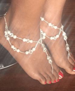 pearls and crystals double anklet barefoot sandals