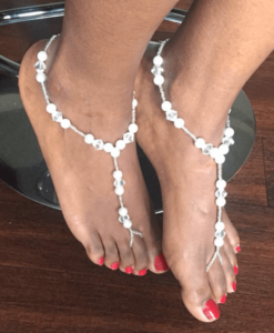 perals and crystals single anklet barefoot sandals