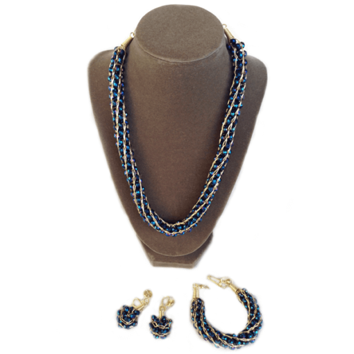 royalty blue crystals necklace set