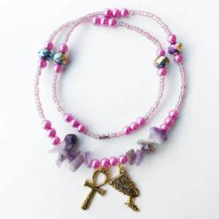 purple gems with charms waist beads