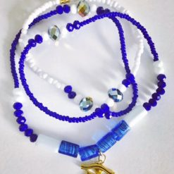 blue and white waist beads with charms