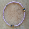pink purple beads with crystals anklet