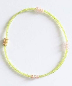 neon yellow beads with crystals anklet