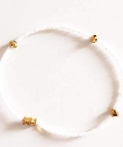 white beads with gold crystals anklet