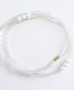white pearls waist beads