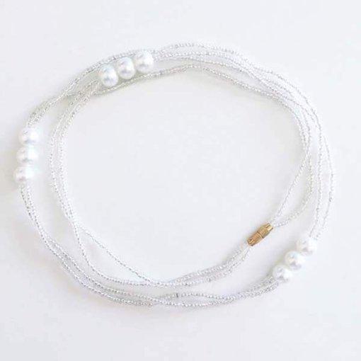 white pearls waist beads