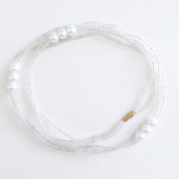 Iridescent Pearl Body Jewelry Mother of Pearl /& Clear Crystal Glass Waist Beads Belly Beads Adjustable with Clasp Beaded Waist Chain