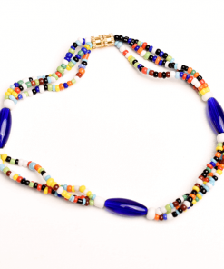 blue oval maasai african anklet