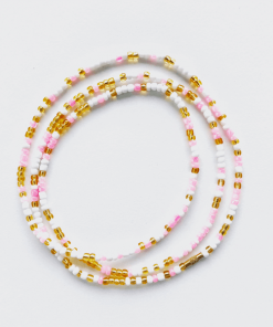 pink brilliance african waist beads