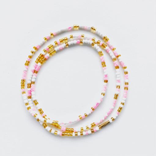 pink brilliance african waist beads