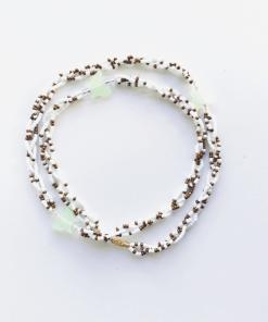 white and gold braided waist beads