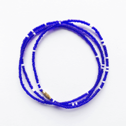 royal blue white african waist beads