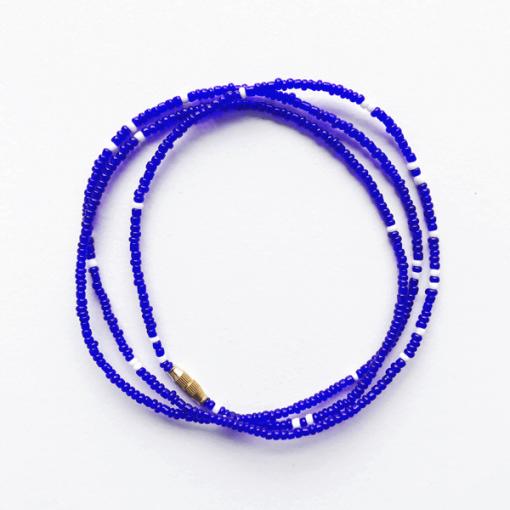 royal blue white african waist beads