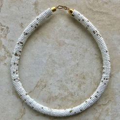 white & gold choker necklace