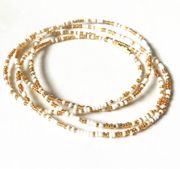 Gold White African Waist Beads Exotic Body Beads