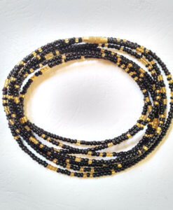 black and gold african waist beads