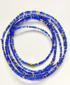 gold & royal blue african waist beads