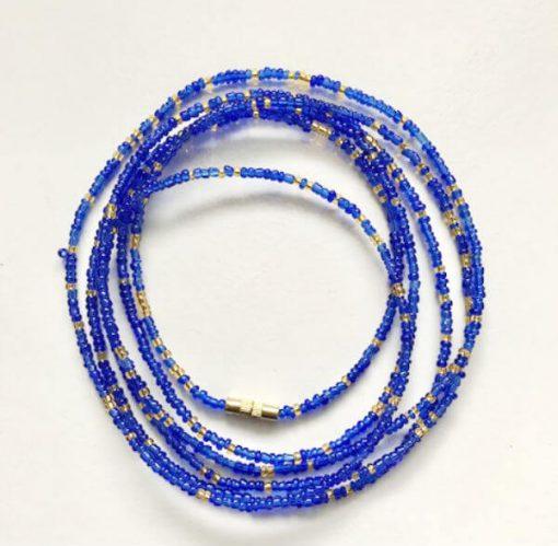 gold & royal blue african waist beads