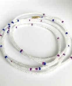 white Waist Beads,Hip Ornament, lily Waist Beads Triple Group Waist Beads purple