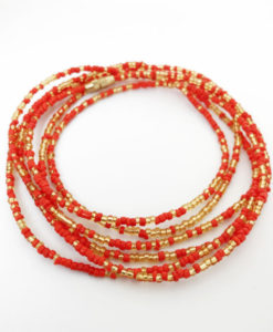 Gold and Red African Waist Beads