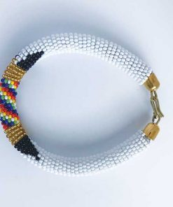 African Savanna Beaded Bracelet White