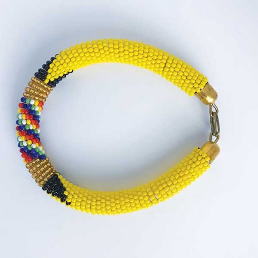 African Savanna Beaded Bracelet Yellow