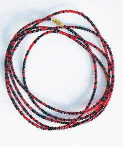 Black & luminous red wast beads